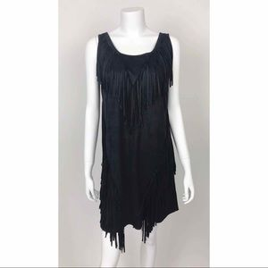 Alessandro Miele Black Suede Fringe Boho Dress